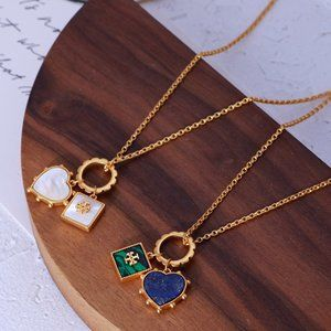 Tory Burch Love Geometric Stone Flower Necklace
